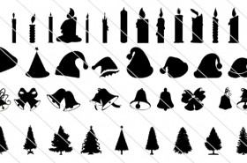 150 Huge Collection of Christmas Silhouette Vector Icons