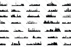 35 City Skyline Silhouette