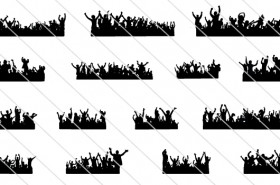 15 Crowd Cheering Silhouette
