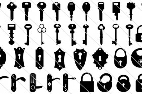 85 Keyhole And Lock Vector Silhouette