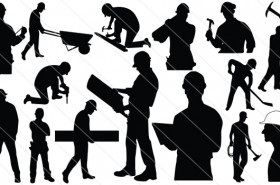Construction Workers Silhouette Vector (15)