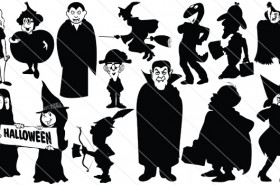 Halloween Silhouette Vector – Witches & Draculas
