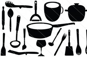 Kitchen Tools Silhouette Vector (20)