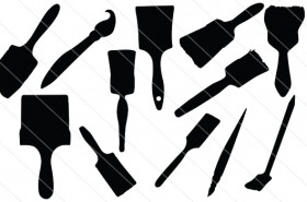 Paint brush Silhouette Vector (15)