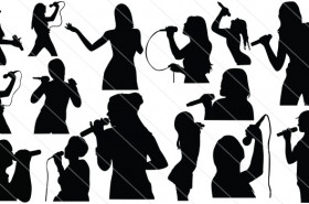 People Singing Silhouette Vector (15)