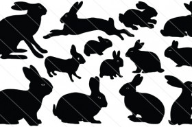 Rabbit Silhouette Vector (13)