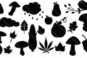 Autumn Set Leaves, Mushrooms & Birds Silhouette Vectors