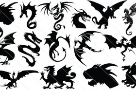 Dragon Silhouette Vector Graphics