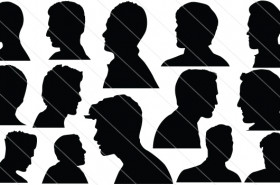 Men Head Silhouette Vector
