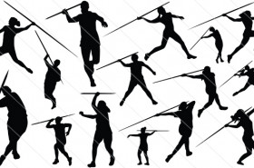 Woman Javelin Thrower Silhouette Vector