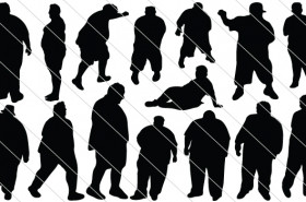 Fat Man Silhouette SVG Cut Files, PNG, JPG & Vector Graphics