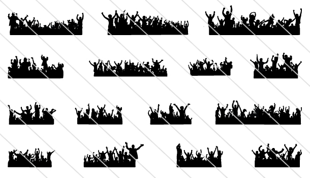 Crowd Cheering Silhouette