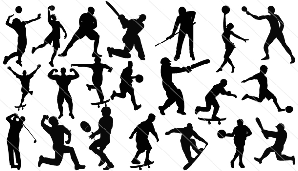 Playing Sports Silhouette Vector