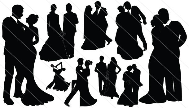 Bride and Groom Silhouette Vector (10)