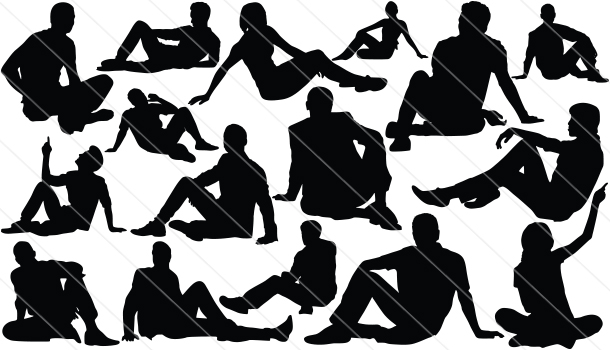 People Silhouettes Sitting On Ground