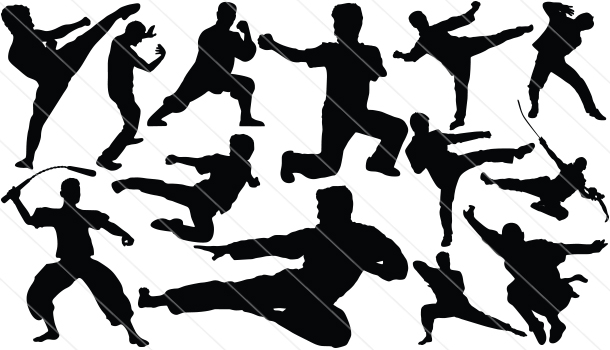 Kung fu fighters silhouette clipart