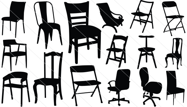 Chair silhouette vector graphics