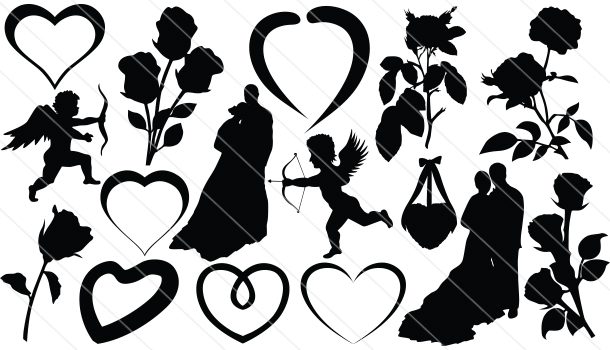 valentines silhouette vector